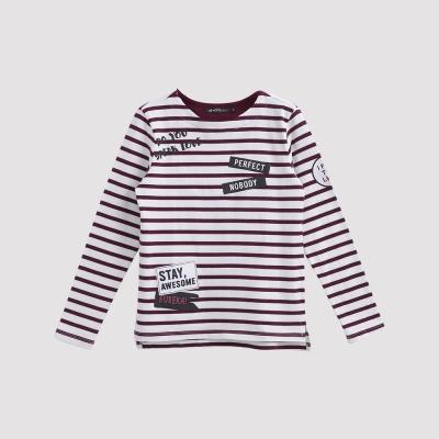 Hang Ten - 女裝 - 徽章印圖條紋T恤 - 紅