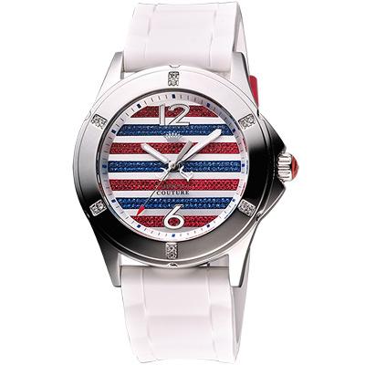 Juicy Couture Rich Girl 美式風晶鑽腕錶-藍紅銀/41mm