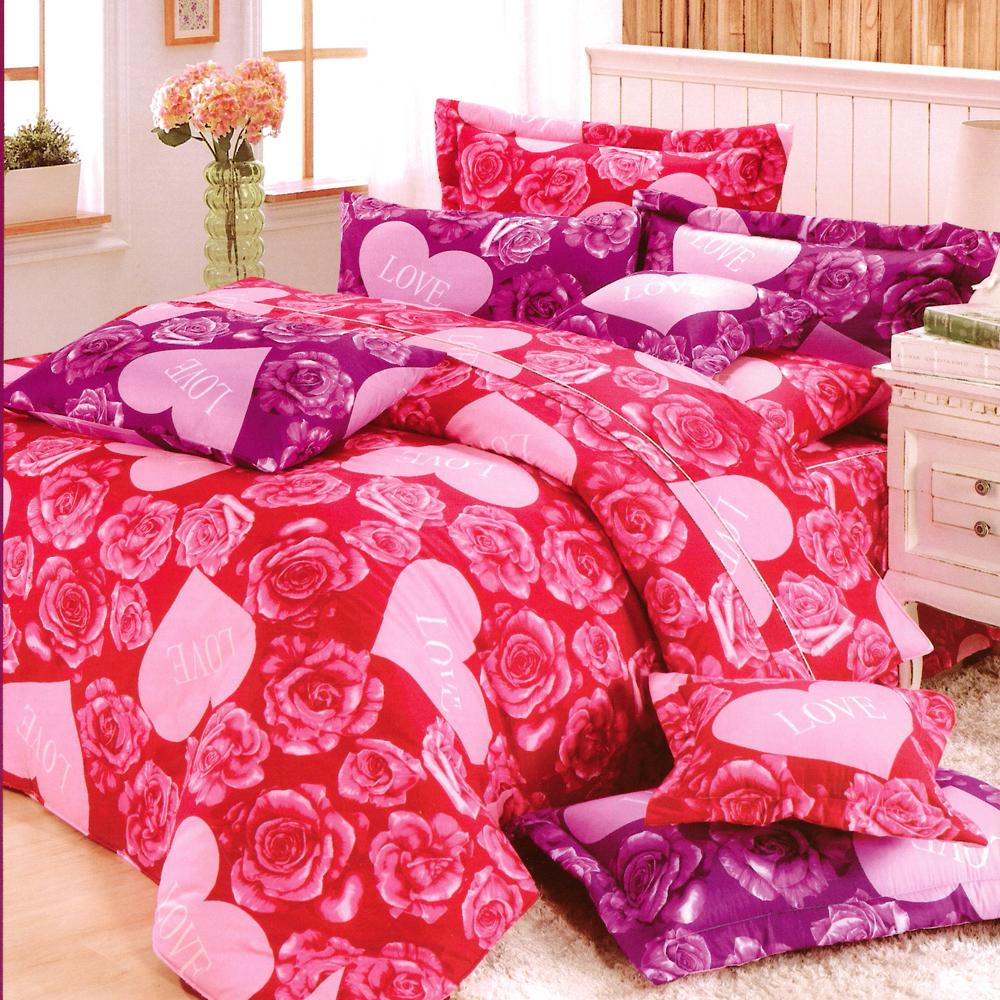 玫瑰人生-紅台灣製雙人五件式純棉床罩組