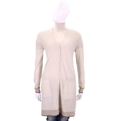 Max Mara 裸膚色滾邊拼接設計羊毛長版針織外套(50%WOOL)