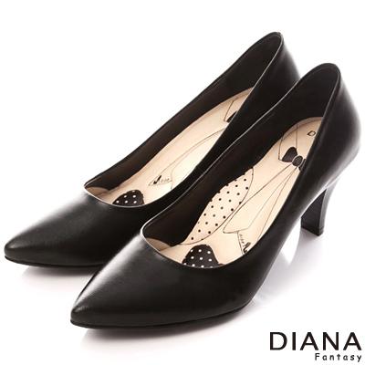 DIANA 超厚切領帶D款--第一代素面真皮跟鞋-黑