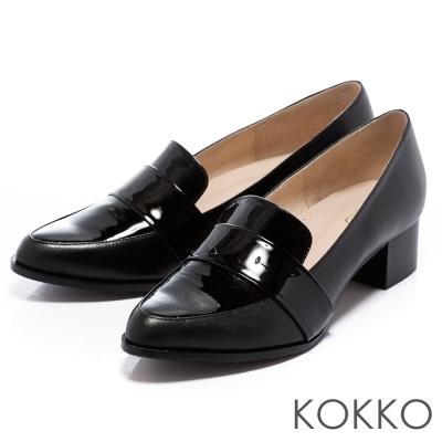 KOKKO-舒壓軟墊-經典尖頭粗跟紳士樂福鞋-黑色