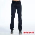 BOBSON   男款保暖高腰膠原蛋白直筒褲-黑色
