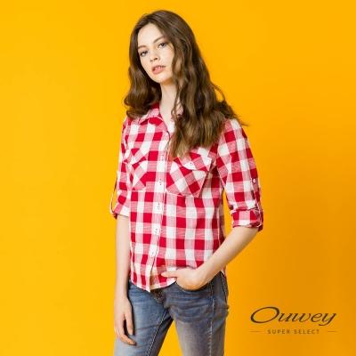 OUWEY歐薇 休閒簡約格紋上衣(紅)
