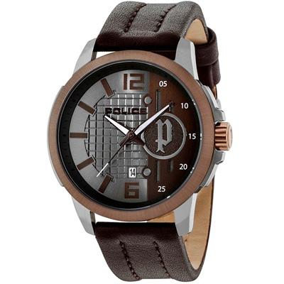 POLICE 自信風範時尚皮革手錶-咖啡/50mm