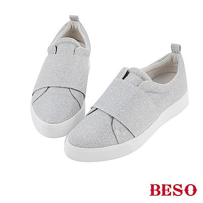 BESO 隨興街頭 金蔥亮澤時尚休閒鞋~銀