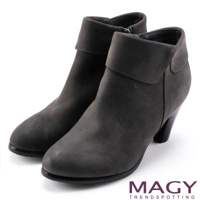 MAGY 紐約時尚步調 復古造型真皮粗跟踝靴-灰色