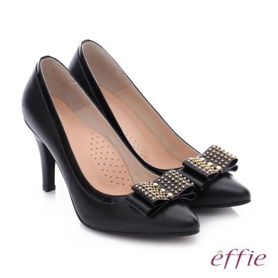 effie 耀眼女伶 真皮拼接金屬鉚釘蝴蝶結高跟鞋 黑
