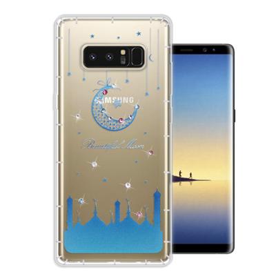 WT Samsung Galaxy Note 8 奧地利水晶彩繪空壓手機殼(月彎...