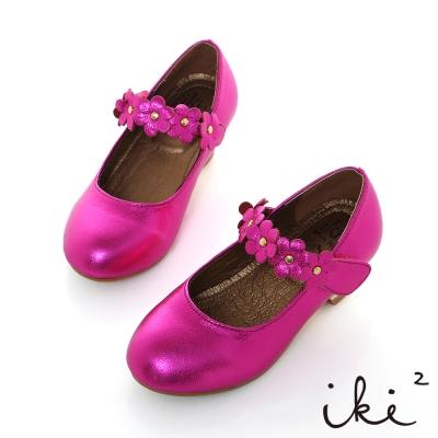 iki2童鞋-小羊皮公主花朵朵低跟鞋-桃