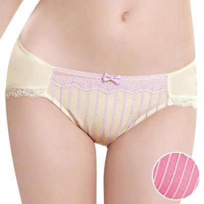 華歌爾-條紋好愛現系列M-LL低腰三角褲-紫藤紅