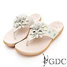 GDC-真皮氣質花朵舒適夾腳拖鞋-米色