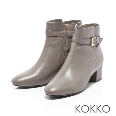 KOKKO-優雅後交叉皮帶方楦粗跟短靴-高雅灰
