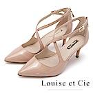 Louise et Cie 牛皮交叉帶尖頭高跟鞋-粉色