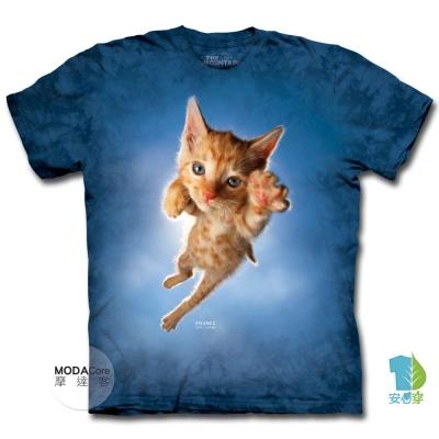 摩達客 美國進口The Mountain 藍跳躍撲小貓 短袖T恤