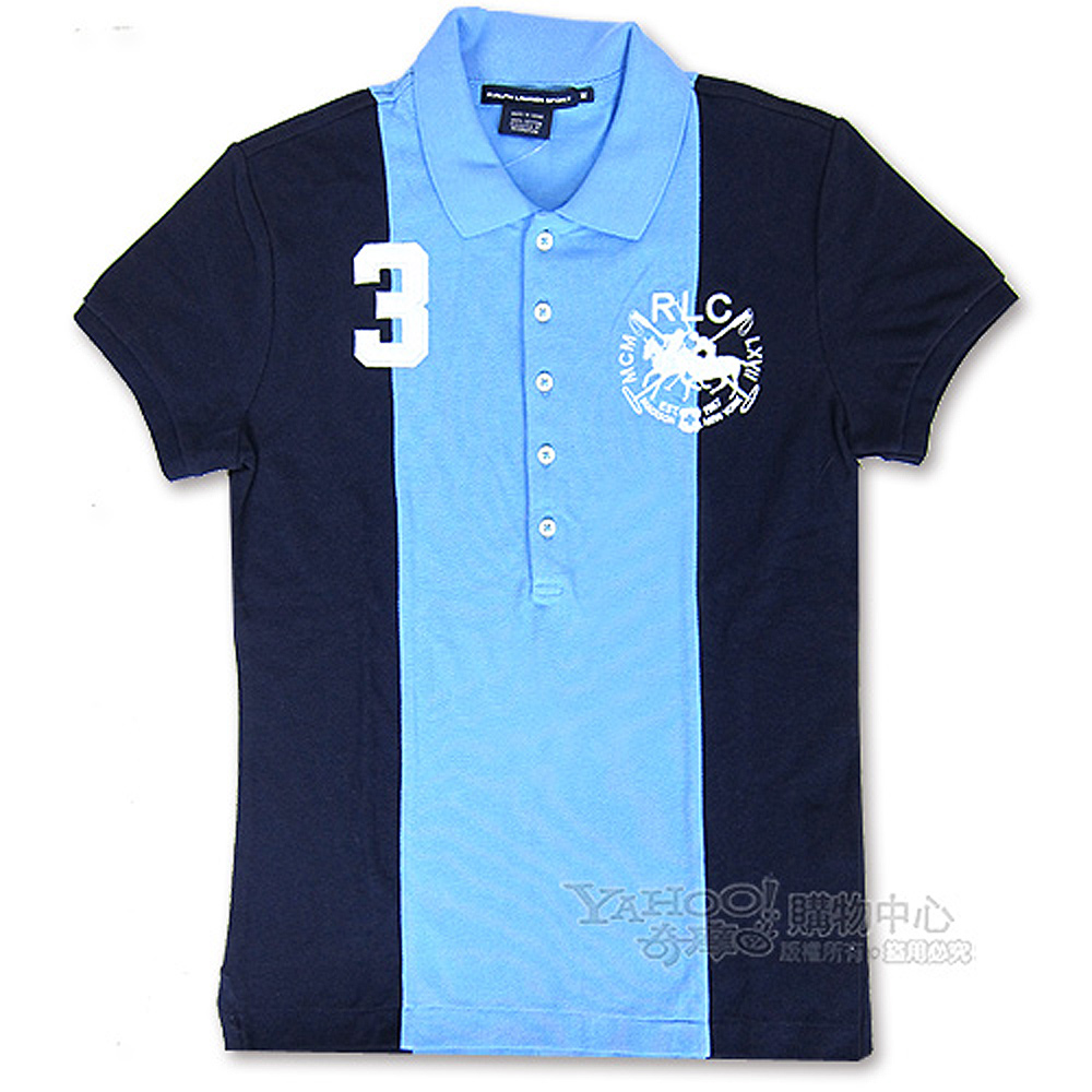 Ralph Lauren 夾心色雙馬3號POLO女衫(天空藍)