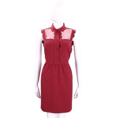 RED VALENTINO 紅色花邊剪裁透膚無袖洋裝