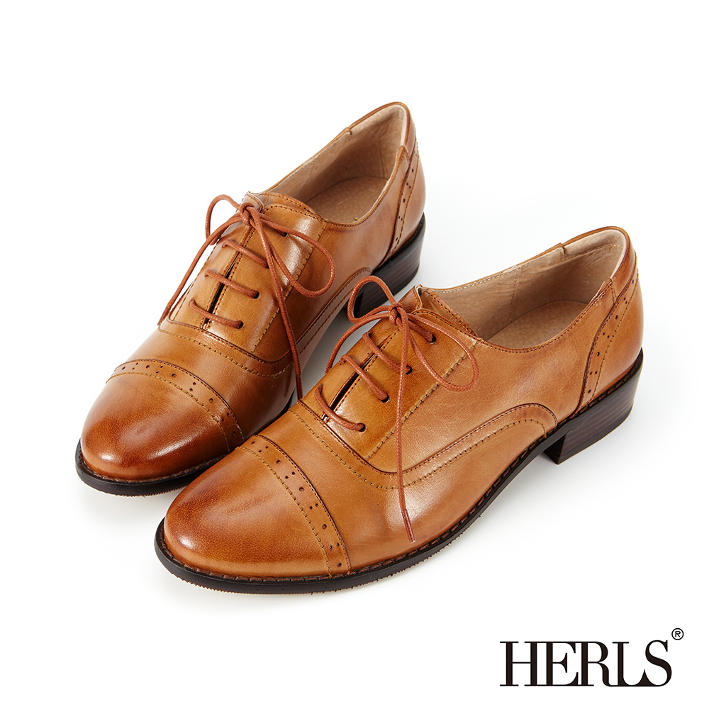 HERLS 全真皮 奶油擦色沖孔粗跟牛津鞋-棕色