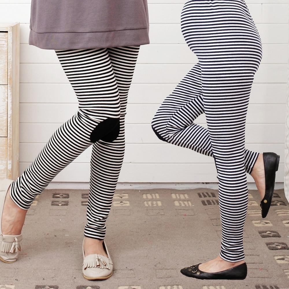 【Keep Chic孕婦裝】條紋膝蓋造型內搭褲(共二色)