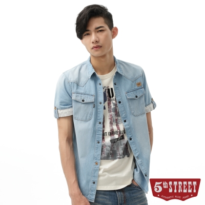 5th STREET 襯衫 配布繡花雙袋牛仔襯衫-男-漂淺藍