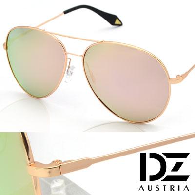DZ 維多利亞大圓弧框 抗UV 偏光 太陽眼鏡墨鏡(金框櫻粉膜)