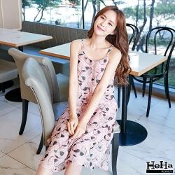 洋裝 印花細肩帶A字雪紡連身裙 粉色-HeHa