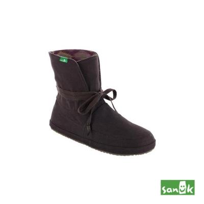 SANUK 內印民俗圖騰反折中筒靴-女款(深咖啡色)