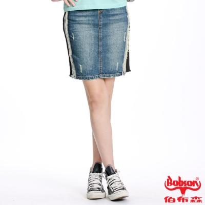 BOBSON 女款針織牛仔布拼接短裙(藍D069-53)