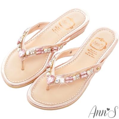 Ann'S浪漫秘境鑽飾夾腳小坡跟夾腳涼拖鞋-粉