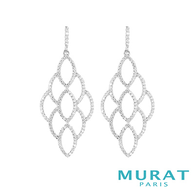 MURAT Paris米哈巴黎 多層次扇型垂吊耳環(大)