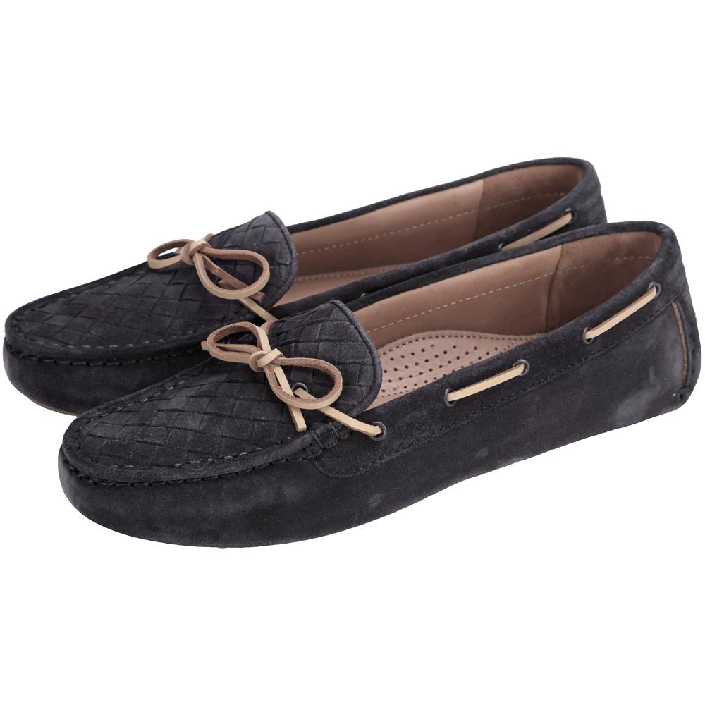 BOTTEGA VENETA 麂皮編織綁帶莫卡辛鞋(炭黑色)