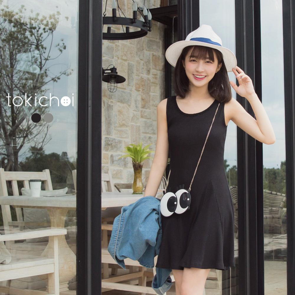 東京著衣 U領蕾絲飾邊針織傘襬洋裝-S.M(共二色)