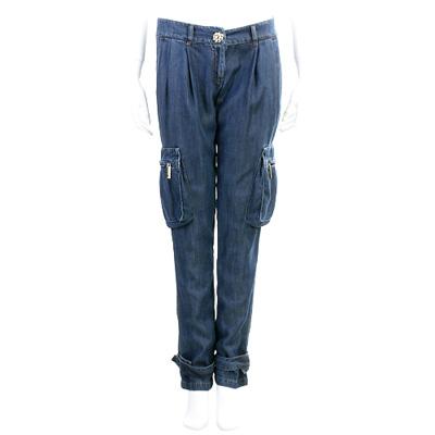 BLUGIRL-Folies 藍色金屬花釦口袋牛仔褲