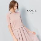 東京著衣-KODZ 霧感設計透肌圓領針織衫-S.M(共二色)