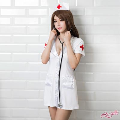 護士服 低胸長版亮面三件式護士角色扮演服(白F) Lorraine