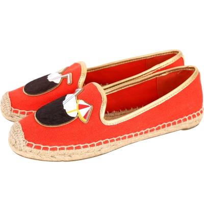 TORY BURCH Coco 椰子圖騰麻編休閒鞋(橘紅色)