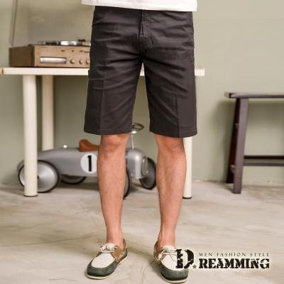 Dreamming 大尺碼剪接條紋伸縮休閒短褲-灰色