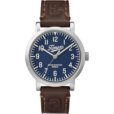 TIMEX 天美時 復刻University系列學院風手錶-藍x咖啡/42mm
