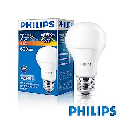 飛利浦 PHILIPS 7W廣角LED燈泡(2入組)