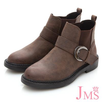 JMS-經典皮帶扣環側鬆緊拼接短靴-咖啡色