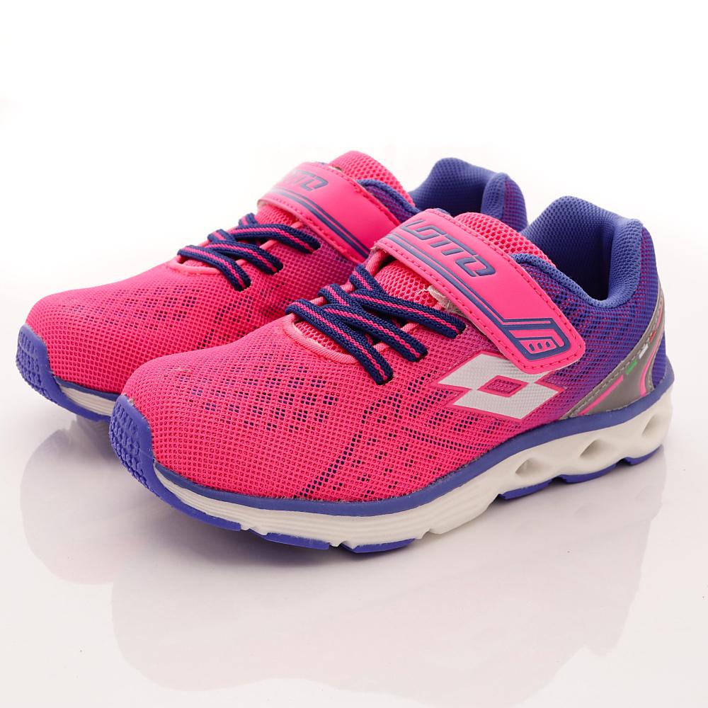 Lotto義大利運動鞋-夜間風動跑鞋-FI353粉紅藍(中大童段)HN