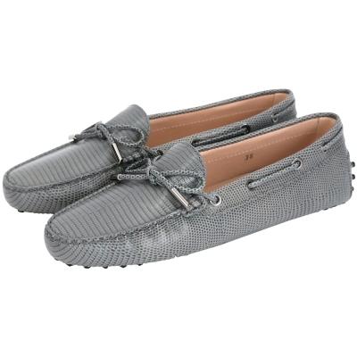 TOD'S Rubber Driving蜥蜴壓紋牛皮綁帶豆豆休閒鞋(女鞋/灰)