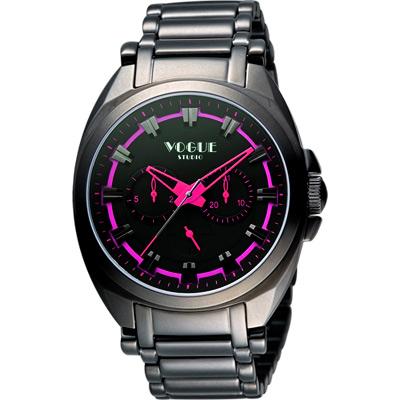VOGUE 嶄新系列日曆時尚腕錶-IP黑x桃紅/42mm