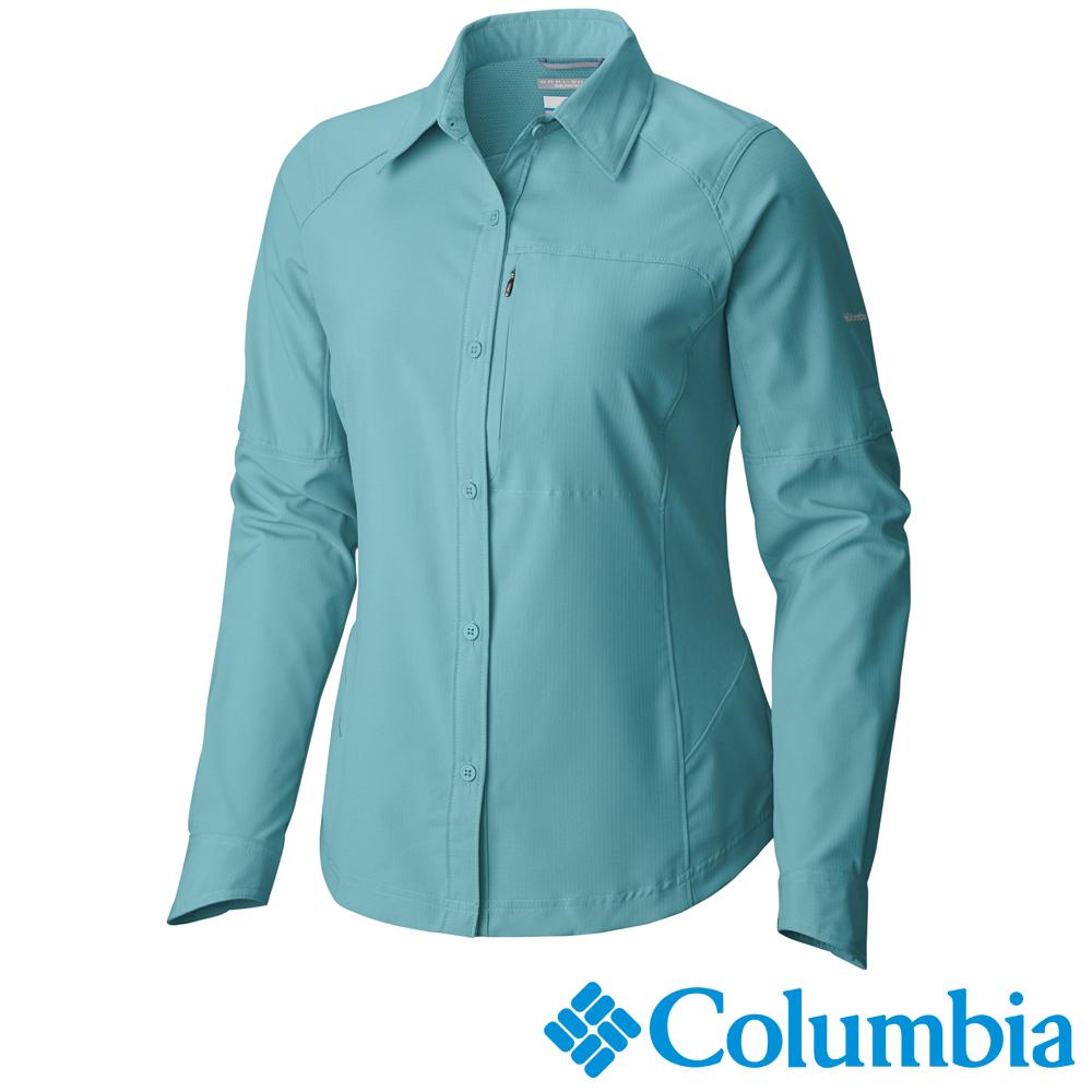 【Columbia哥倫比亞】女-快排防曬40長袖襯衫-湖藍 UAL70790AQ