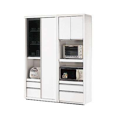 品家居 維多4.6尺四門四抽餐櫃組合-138.5x40x181.5cm免組