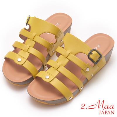 2.Maa-簡約清夏魚骨設計涼拖鞋-黃