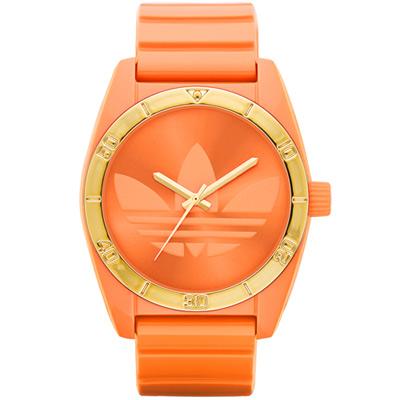 adidas 街潮繽紛三葉休閒腕錶-金框橘41mm