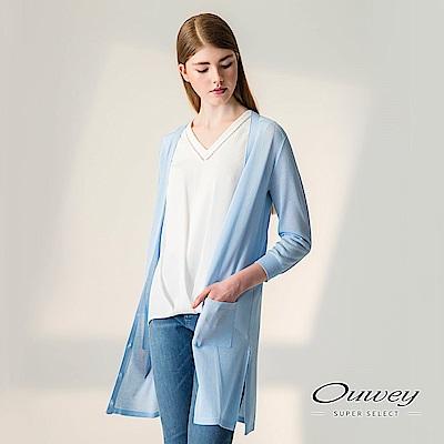 OUWEY歐薇 都會七分袖針織長版薄外套(水)-動態show