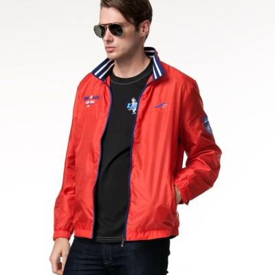 聖手牌 外套 條紋領飾運動休閒外套(紅)