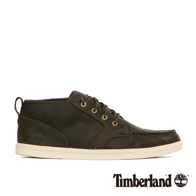 Timberland-男款深灰色簡約方頭皮革休閒鞋